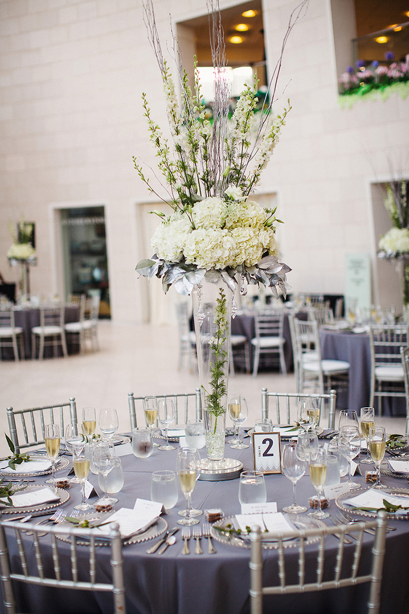 White Hydrangea Glass Center Piece