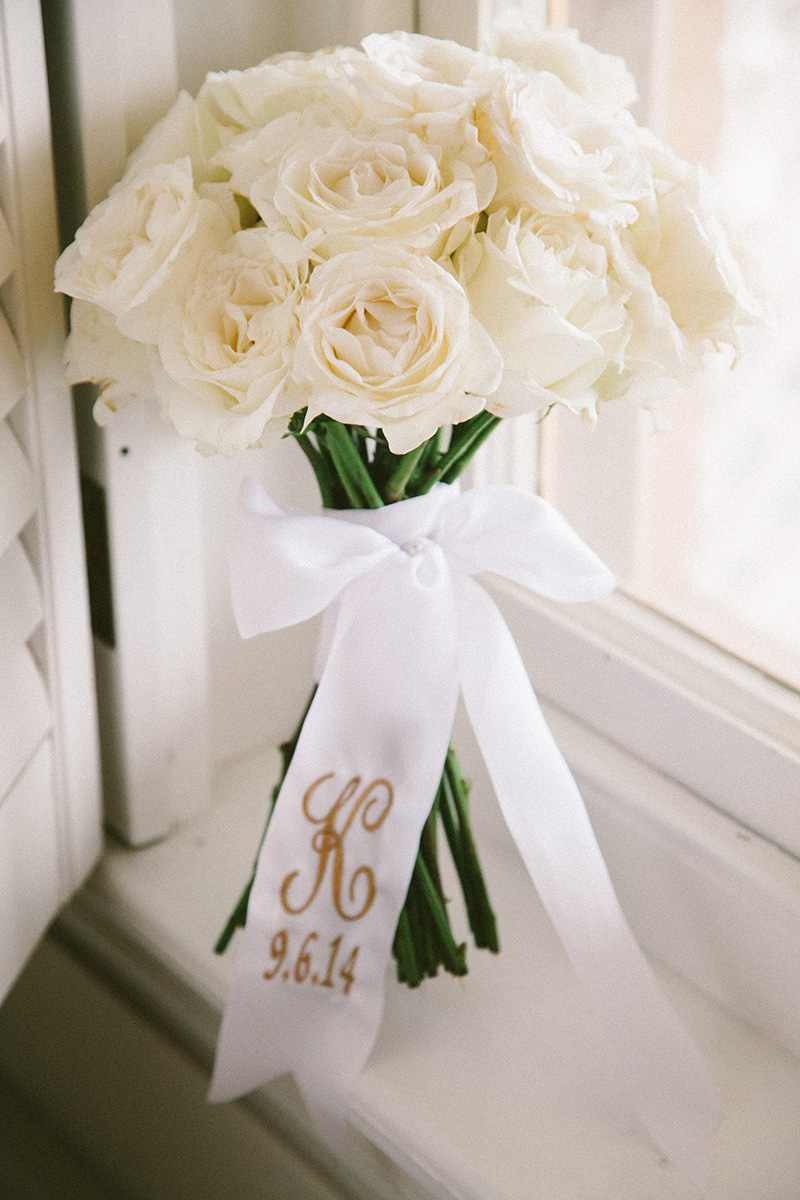 White Rose Bouquet with Monogram Ribbon Wrap