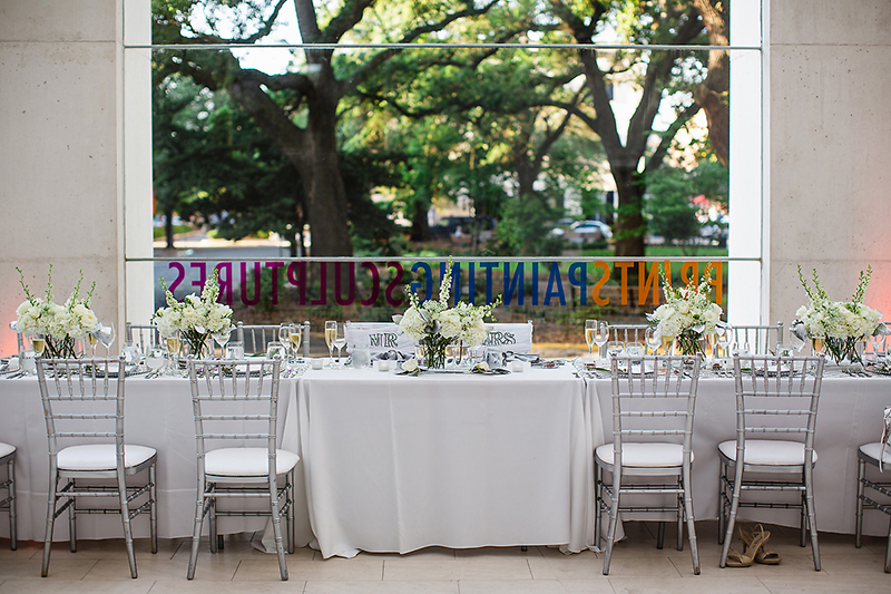 White Silver Bride Groom Sweetheart Table
