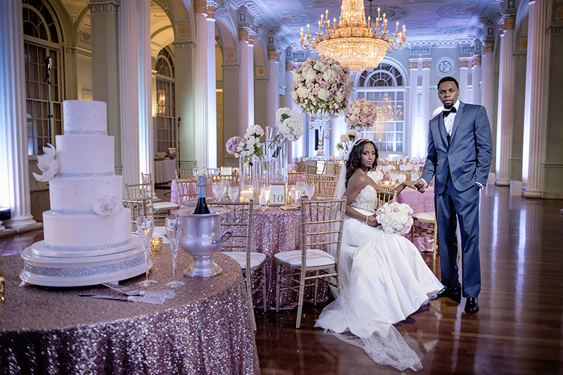 Woodlyne and Chad's Pink Wedding Reception at Biltmore Ballrooms