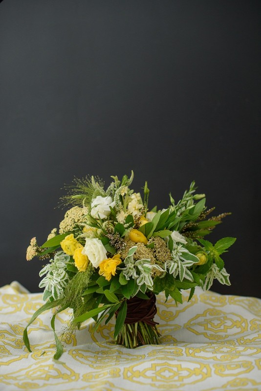 Yellow Green Wellington Inspired Bridal Bouquet
