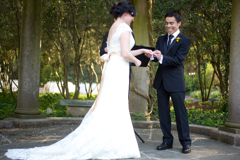Bride Groom Vows Outdoor Setting
