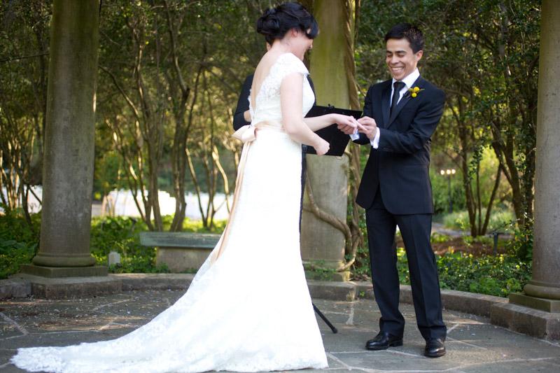 Bride Groom Vows Outdoor Setting