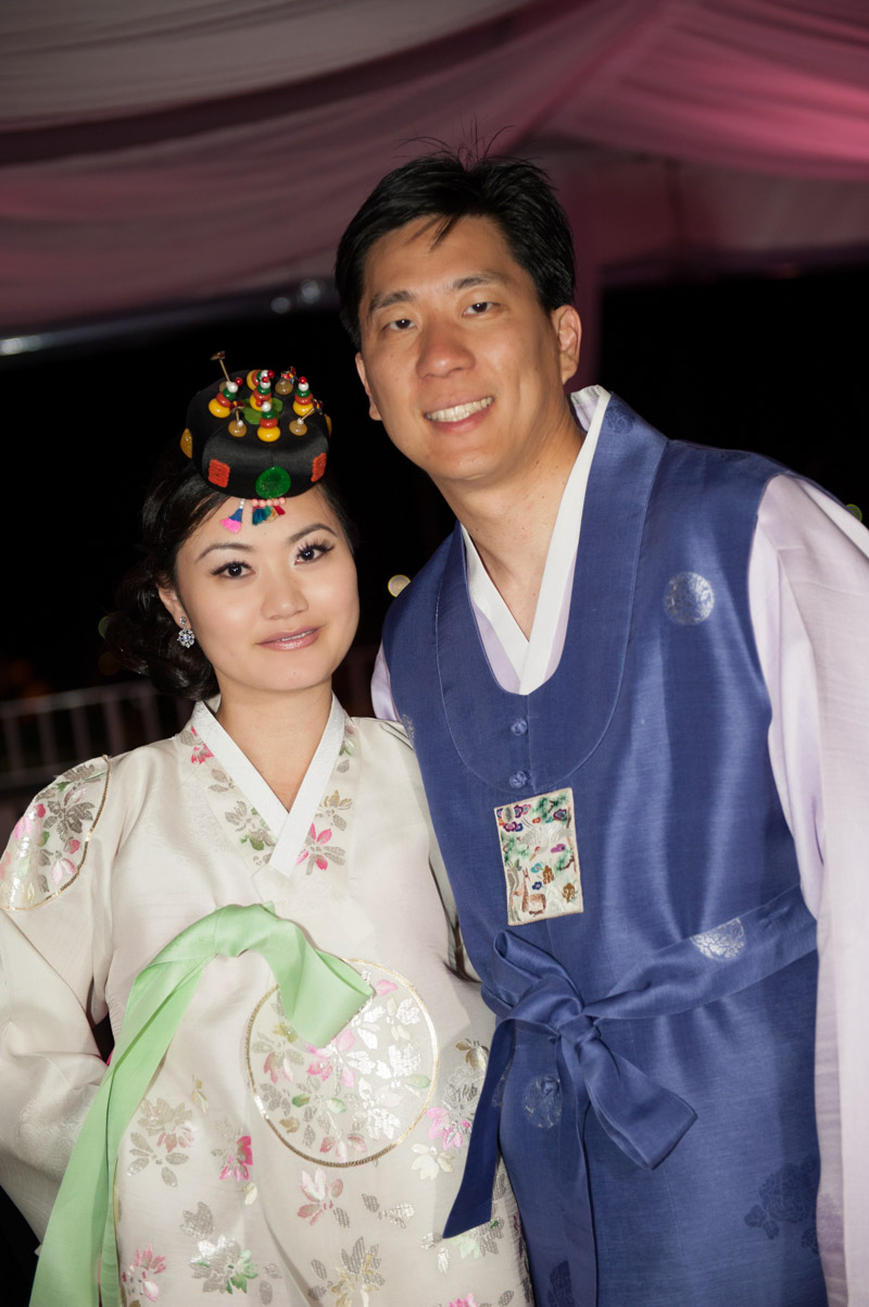 Bride and groom in traditional culture attire