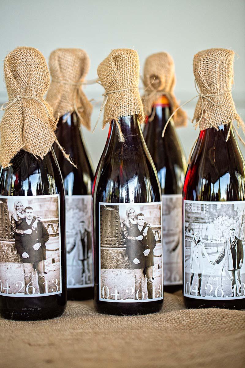 Burlap Covered Personalized Wedding Wine Bottles