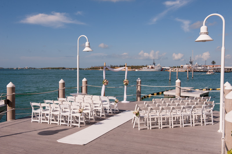 Ceremony shot over looking the water