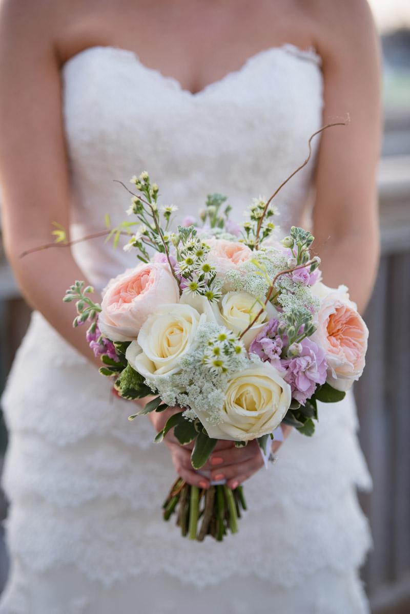 Cream rose pink garden rose and wildflower bridal bouquet
