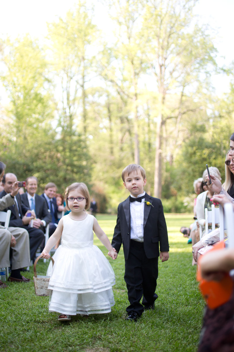 Flower Girl Ring Bearer Walking down Isle