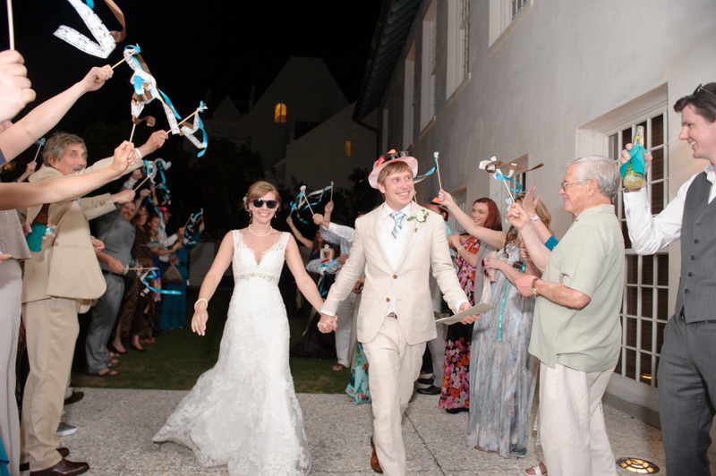 Grand exit of bride and groom with ribbons