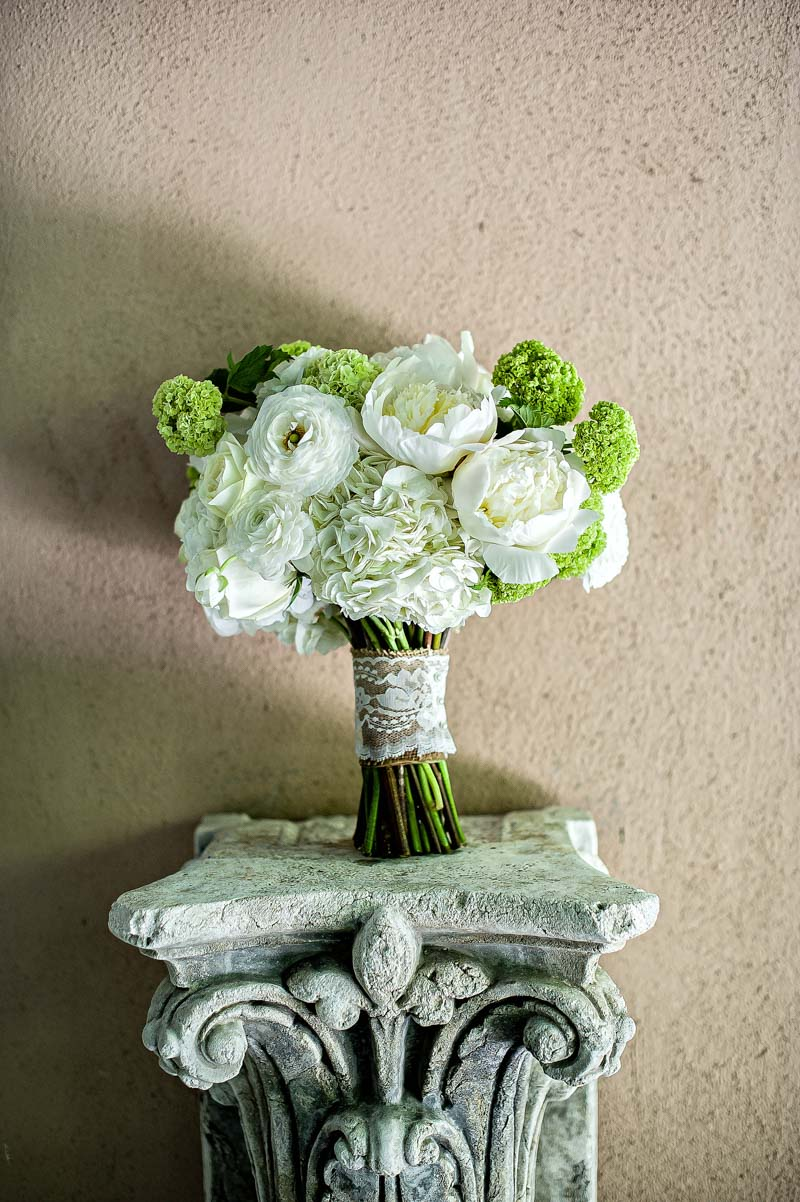 Green and White Rustic Wedding Bridal Bouquet with Peony, Hydrangea, and Roses