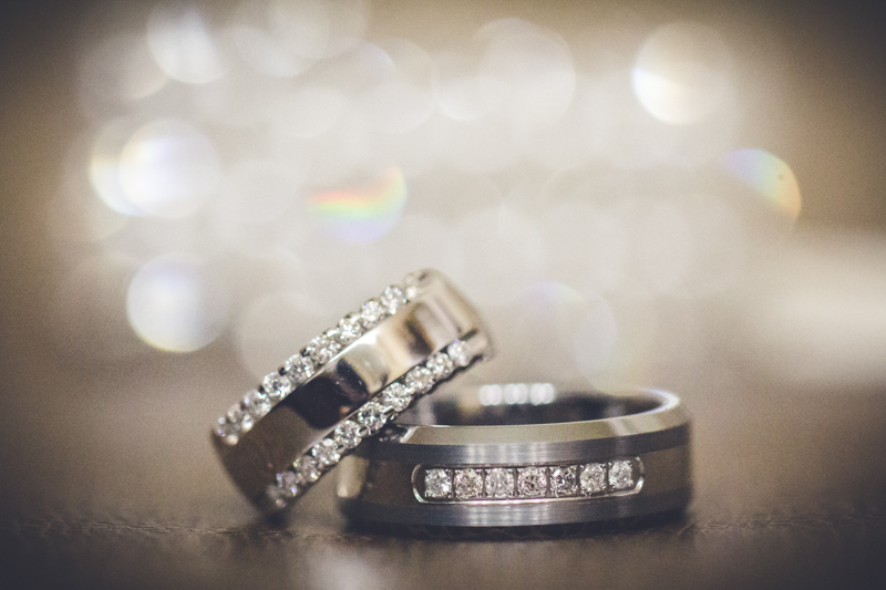 Gunmental with diamond trim wedding bands