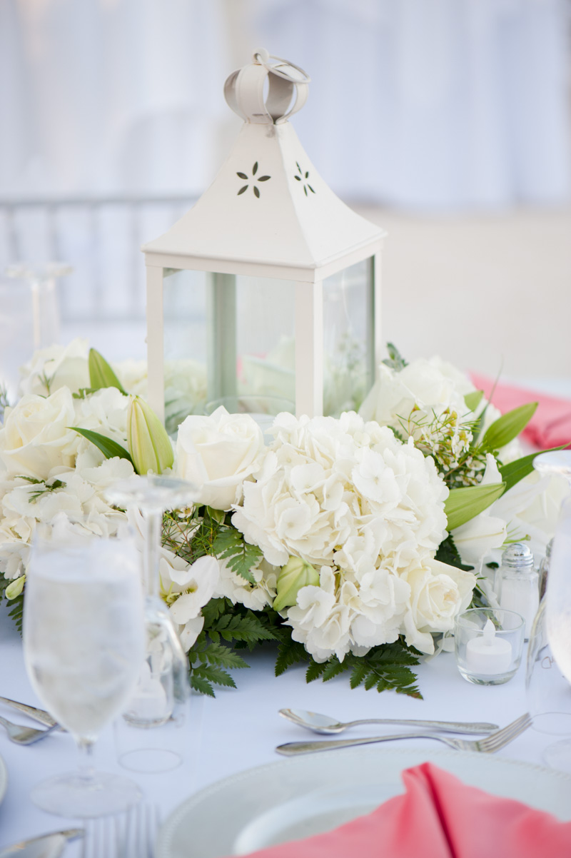 Islamorada Beach Wedding Reception Lantern White Hydrangea Centerpiece