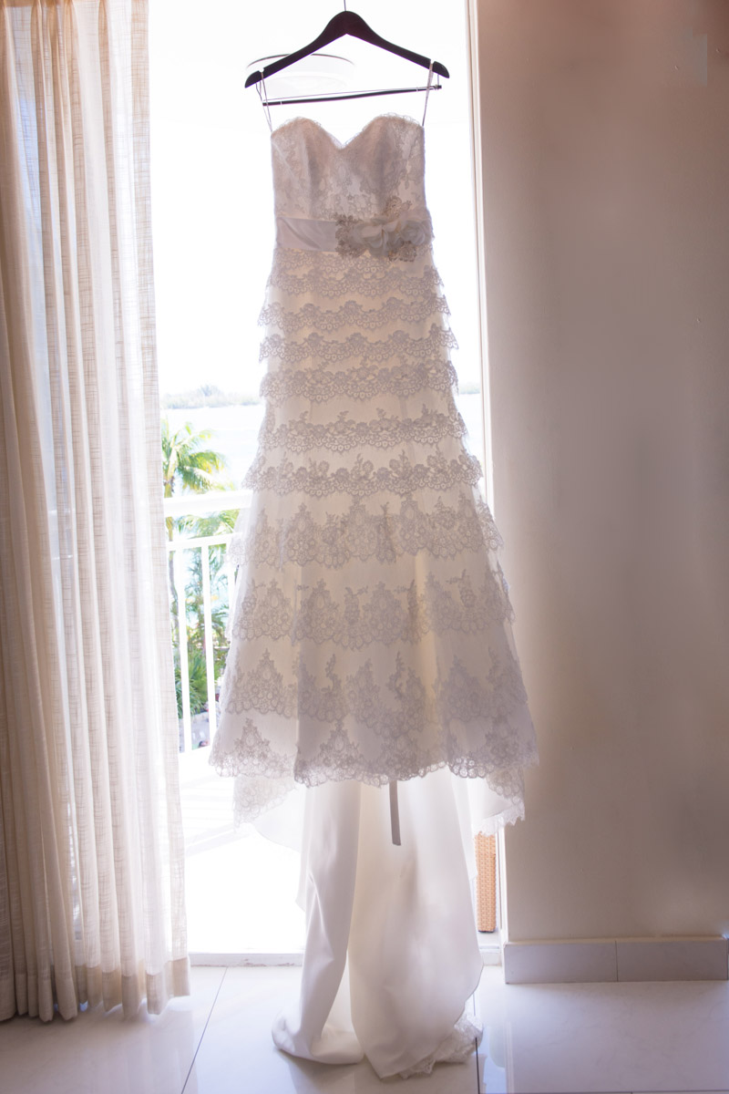 Ivory laced layered bridal gown