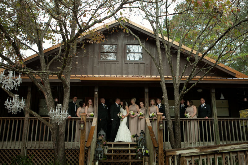 Log cabin wedding party