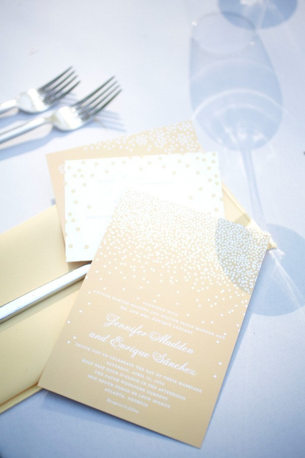 Gold White Wedding Invitations