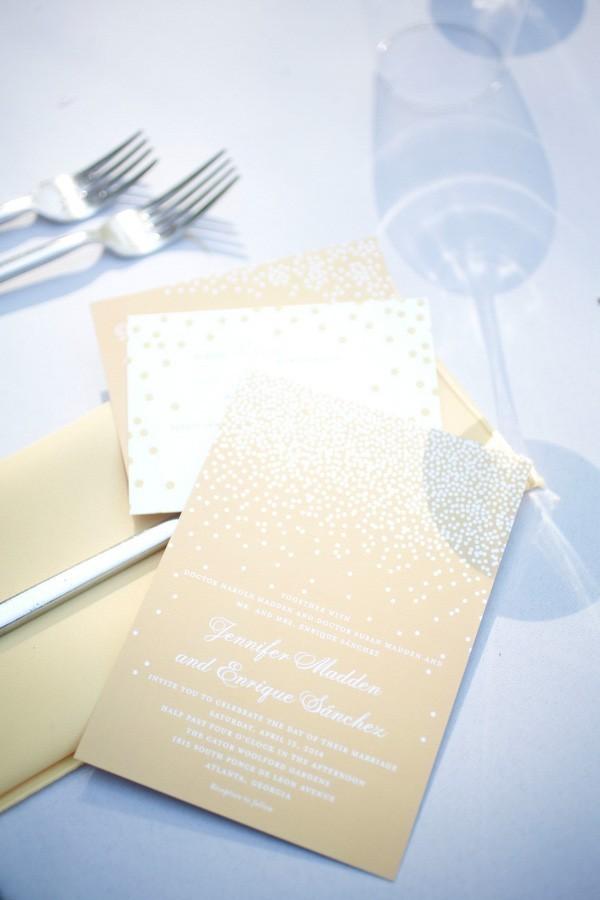 Gold White Wedding Invitations