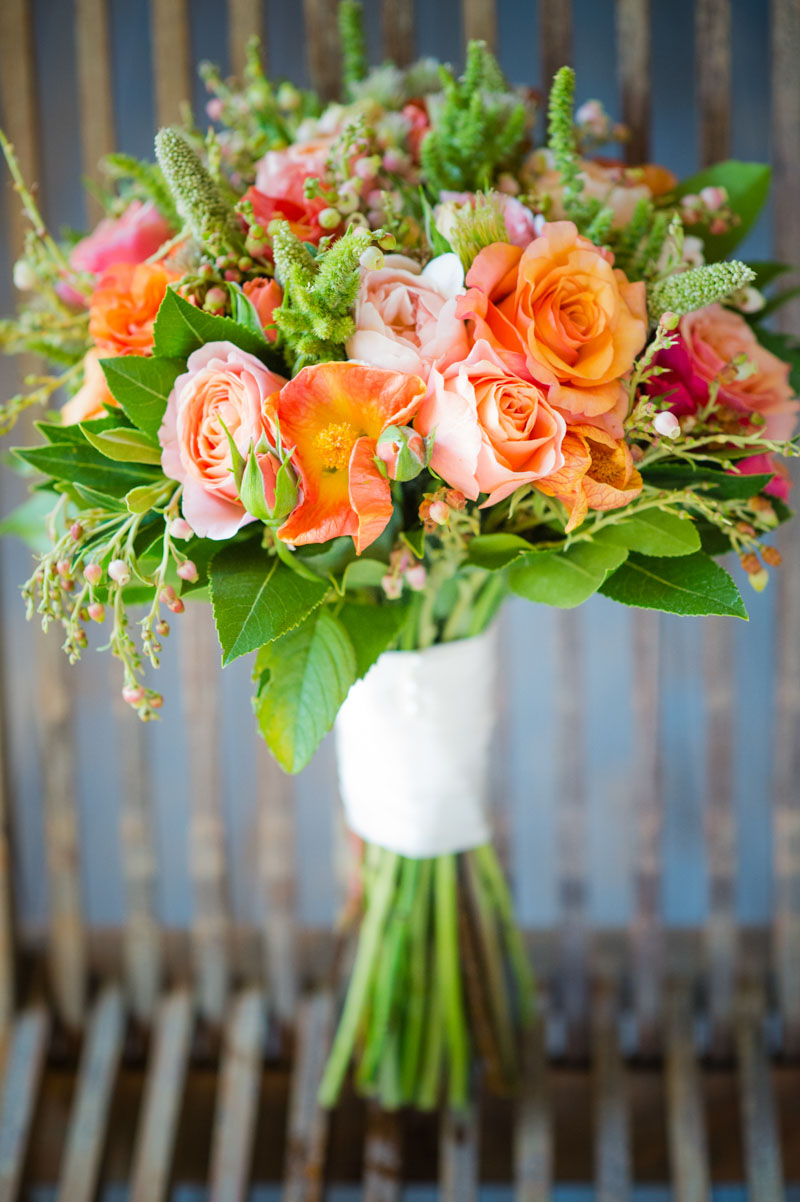 Orange and pink rose bouquet