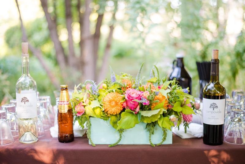 Orange and pink rose centerpiece_