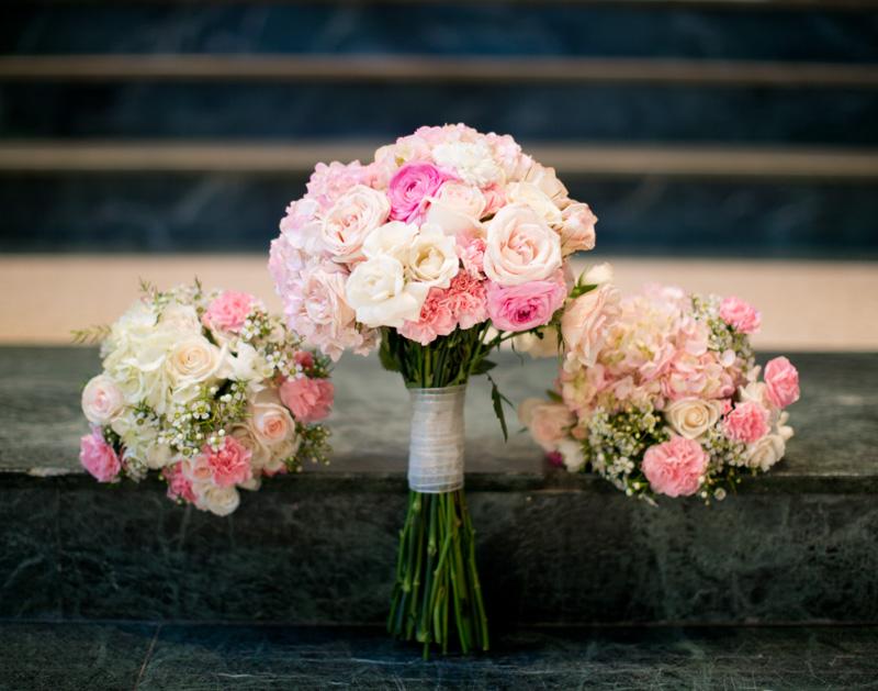Polish Wedding Pink Rose Hydrangea Baby's Breath Bridal and Bridesmaids Bouquets
