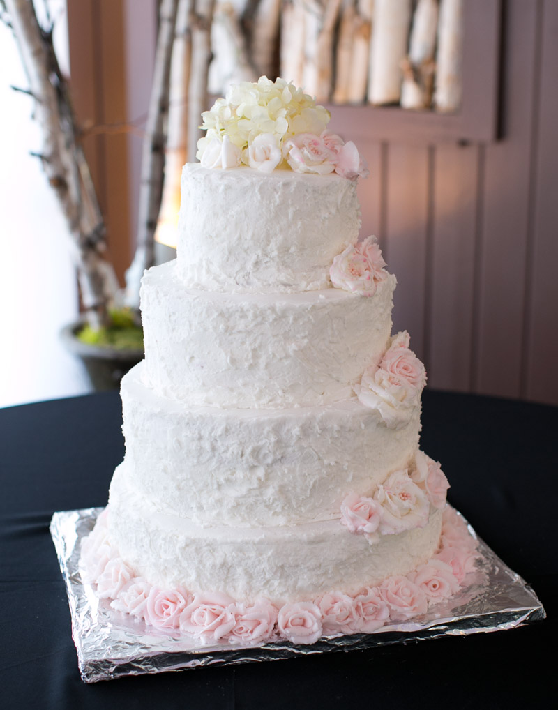Polish Wedding Reception Four Tiered White Blush Cake