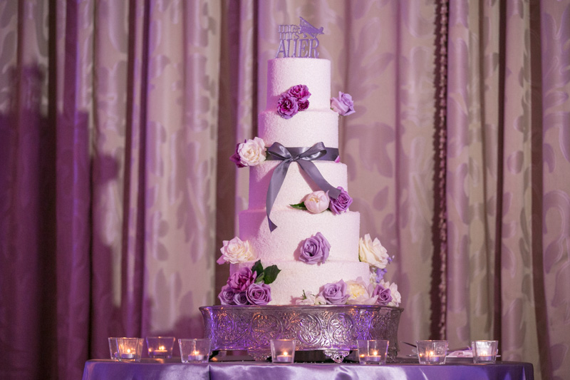 Purple & White Flowered Wedding Cake