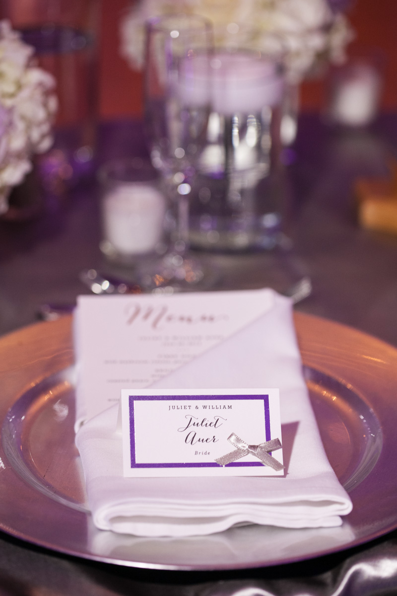 Purple & White Place Setting