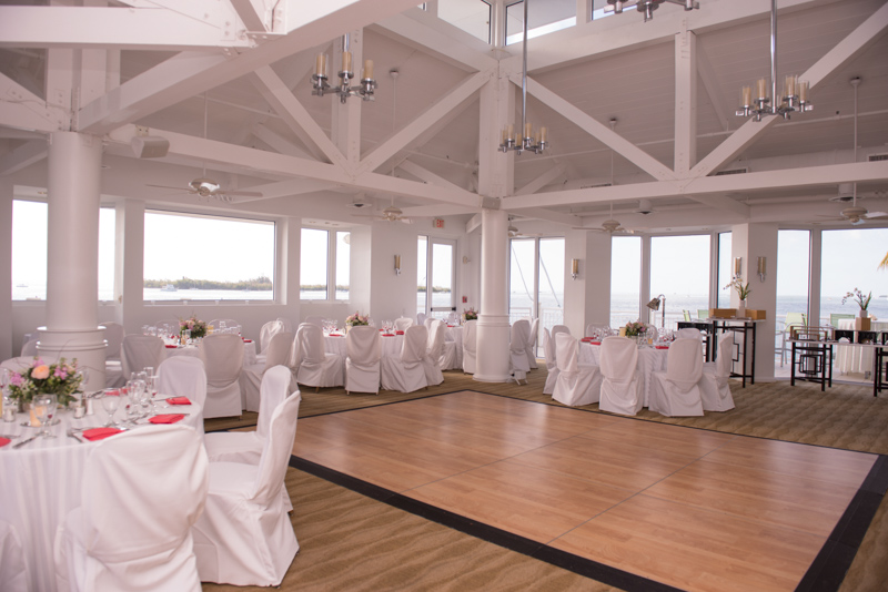 Reception shot of white chairs