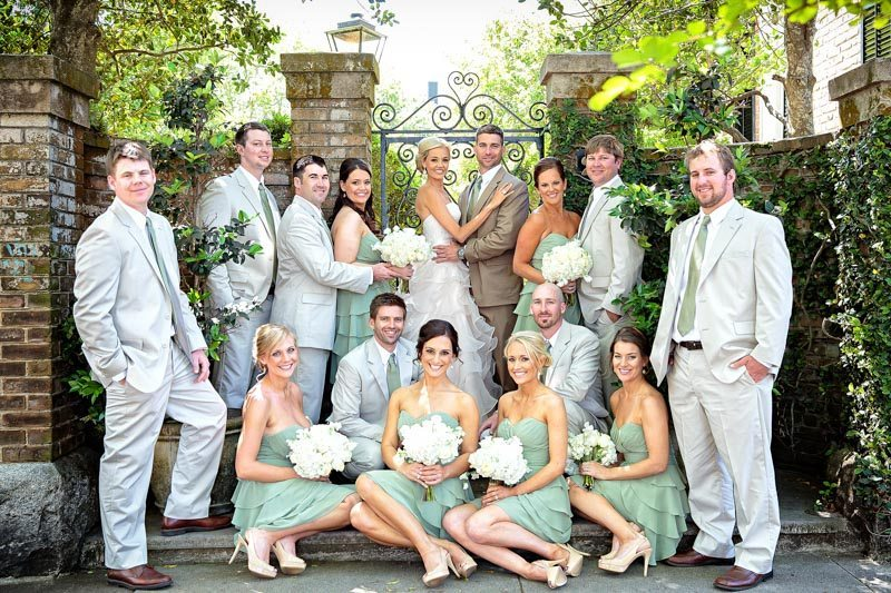 Rustic Green and White Outdoor Bridal Party