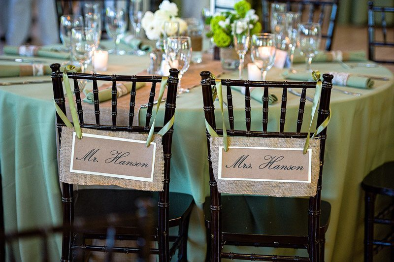 Rustic Green and White Wedding Reception Bride and Groom Chairs