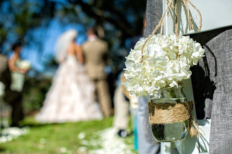 Rustic Outdoor Wedding Ceremony Hydrangea Chair Decoration
