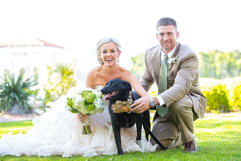 Rustic Southern Outdoor Wedding Bride and Groom with Dog