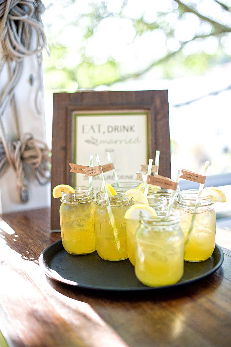 Rustic Southern Outdoor Wedding Reception Specialty Mason Jar Drinks