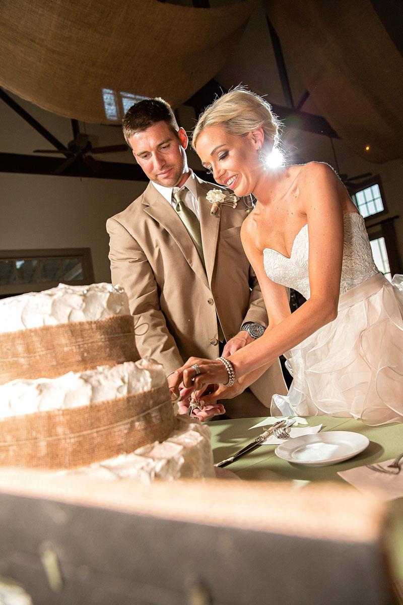 Rustic Wedding Bride and Groom Cake Cutting