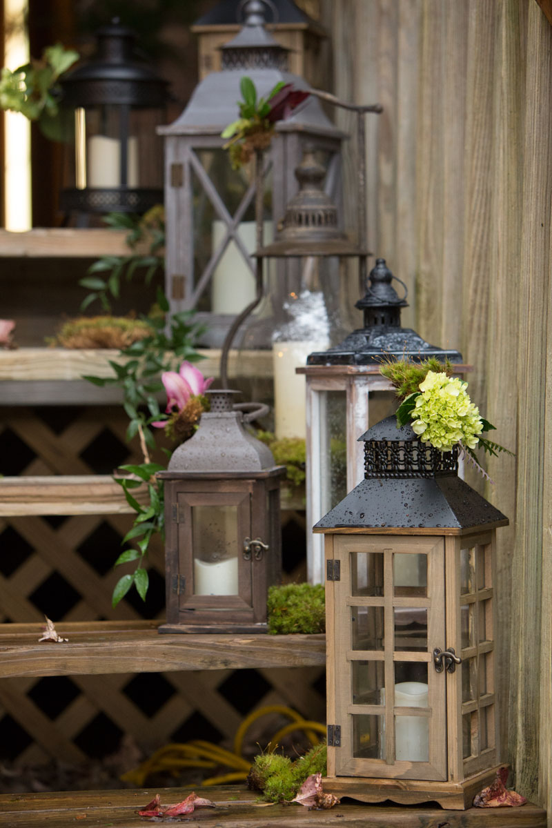 Rustic lanterns outdoor decor