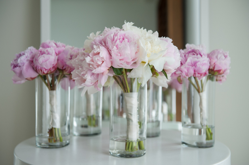 Shot of bridesmaid and brides pink rose bouquets