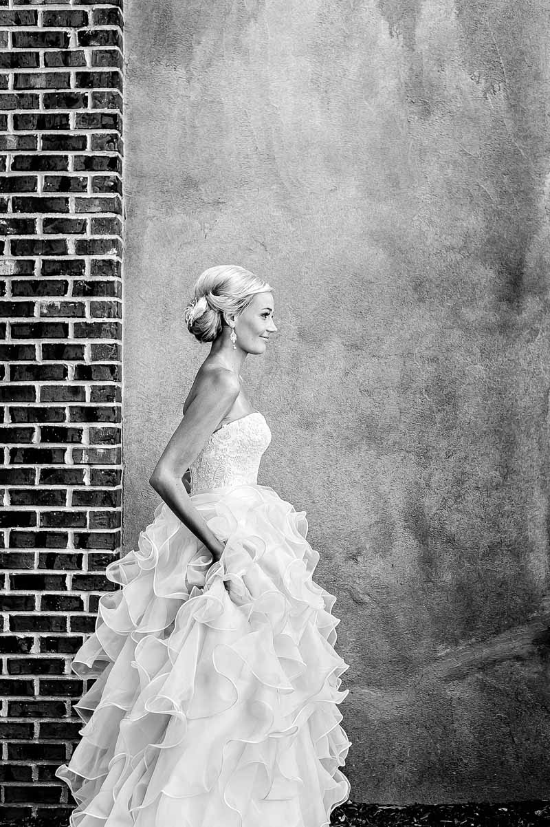 Southern Bride in Ruffled Strapless Wedding Gown