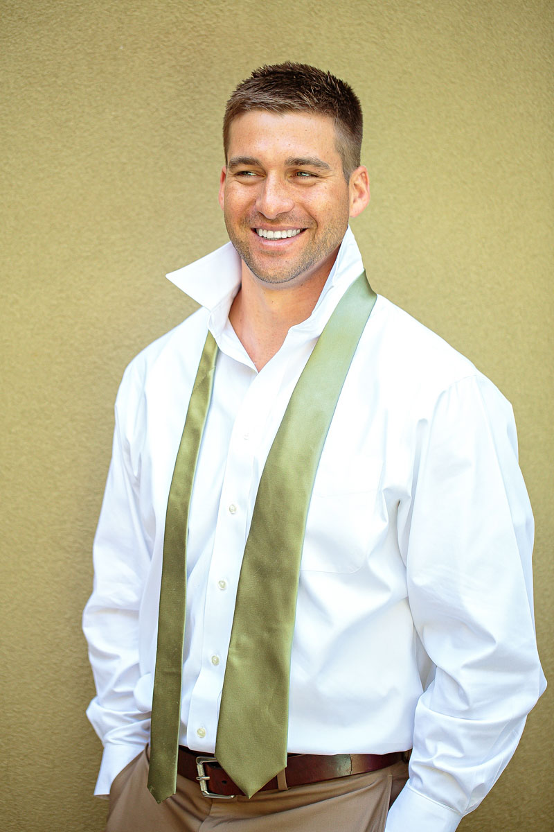 Southern Rustic Green and White Groom