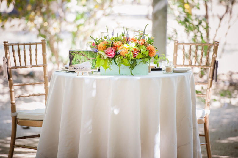 Table shot with white table runner