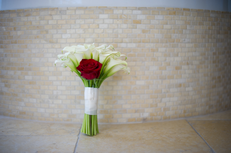Tropical Beach Wedding White Calla Lily and Red Rose Bridal Bouquet