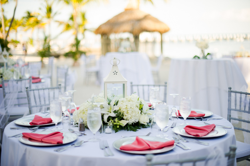 Tropical Islamorada Beachside Wedding Reception Tablesetting