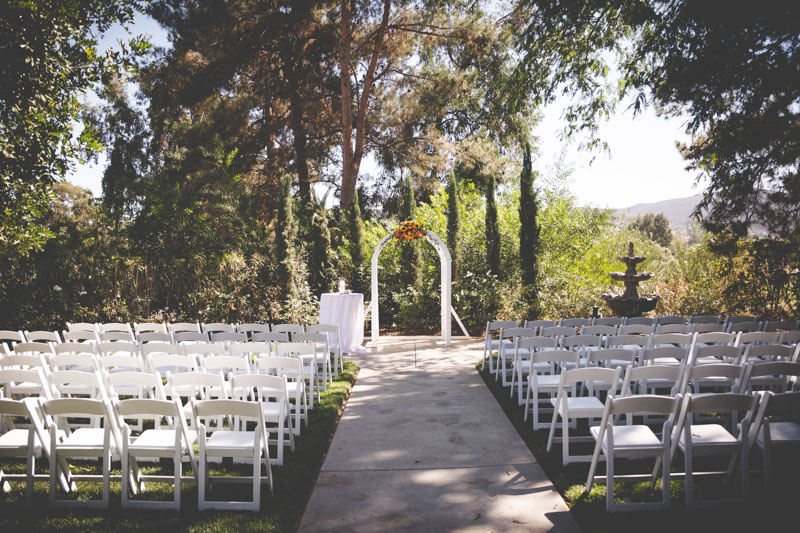 White and green ceremony space