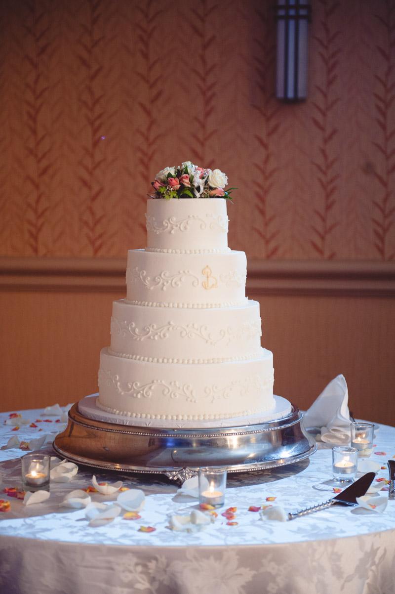 4 Tier White Wedding Cake