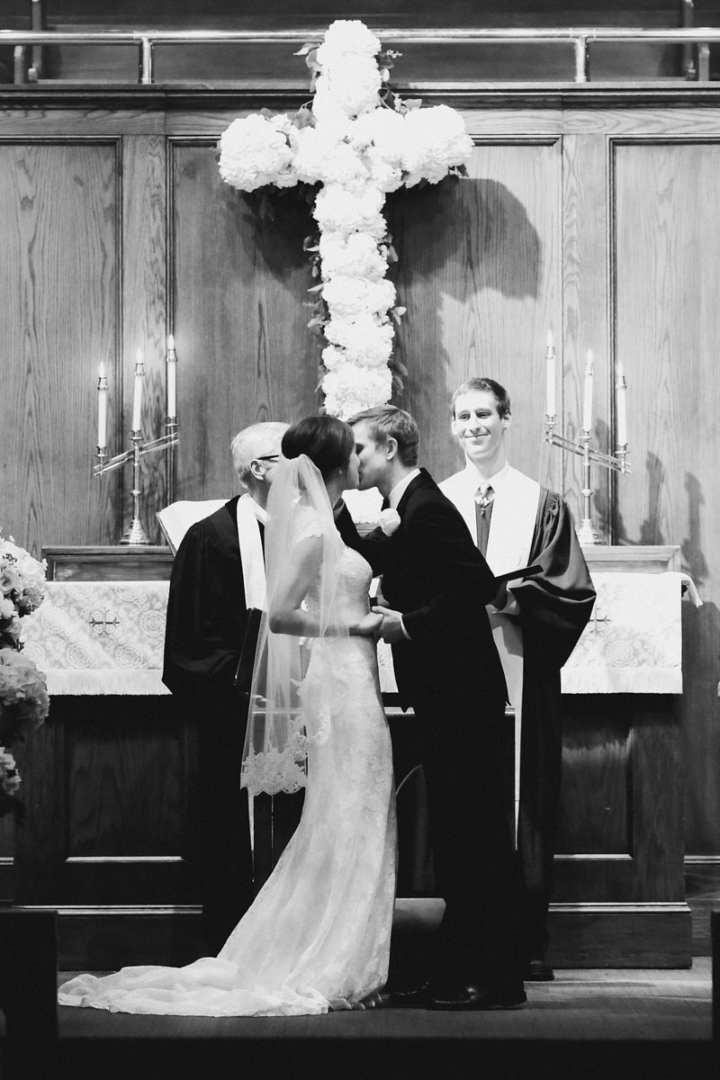 Alabama Church Wedding Ceremony First Kiss