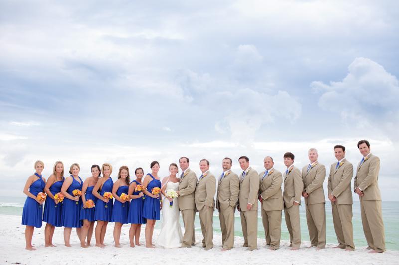 Beach wedding party blue beige