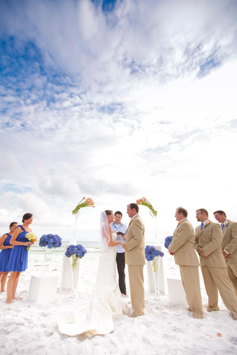 Beach wedding vow exchange