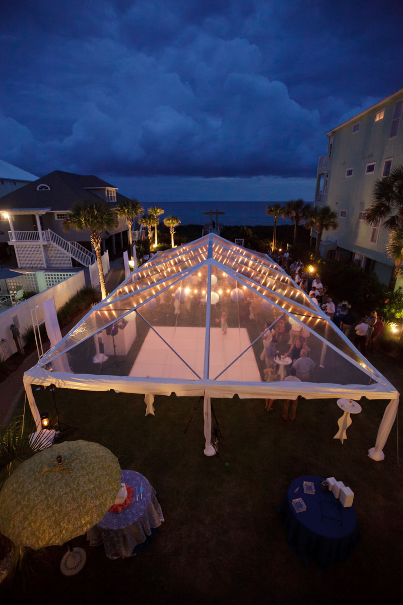 Beachfront reception tent