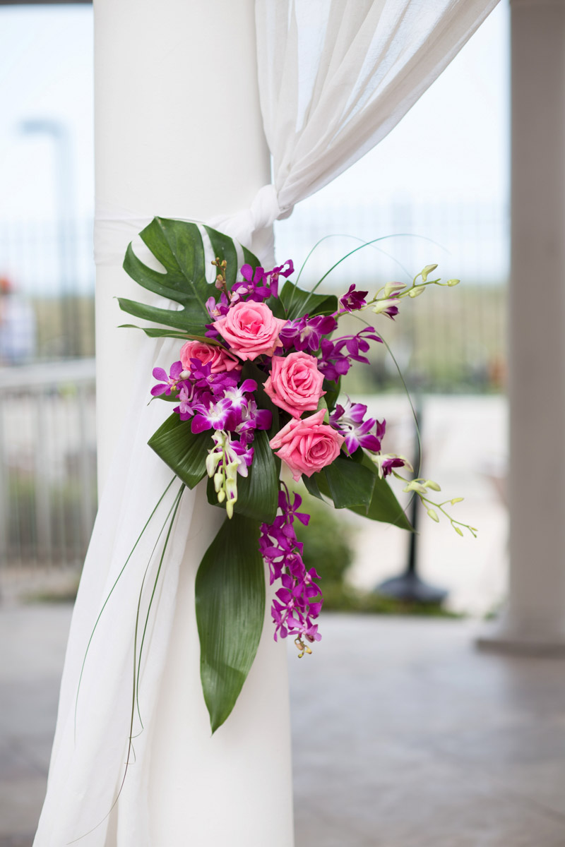 Beachy Wedding Fuchsia Floral Decorations
