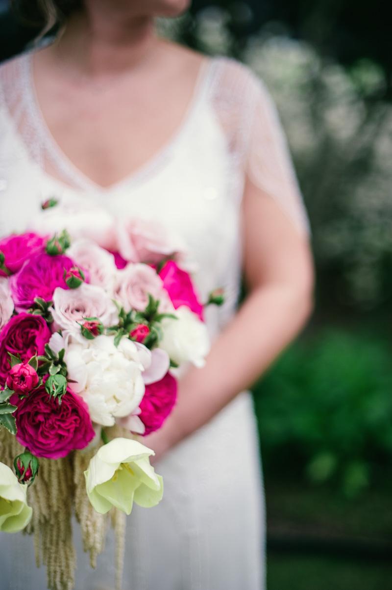 Blush roses, cream and fushia garden bouquet