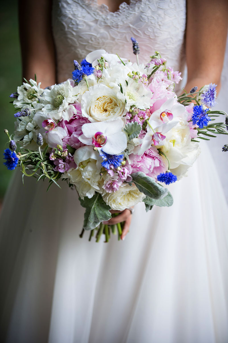 Bridal Bouquet with Orchid, Peony, Thistle, Dusty Miller, Garden Rose, and Rosemary