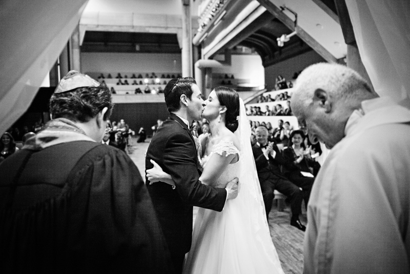 Bride and Groom First Kiss of Glamorous Atlanta Wedding